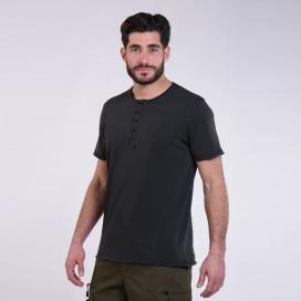 T-Shirt 5501 Henley Cotton 180 Gsm Regular Fit Unisex Black