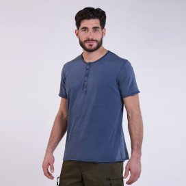 T-Shirt 5501 Henley Cotton 180 Gsm Regular Fit Unisex Indigo