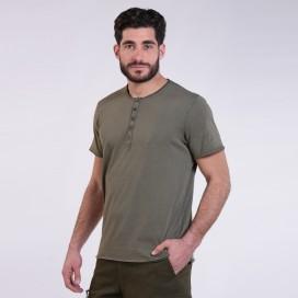 T-Shirt 5501 Henley Cotton 180 Gsm Regular Fit Unisex Khaki