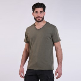 T-Shirt 5502 V-Neck Cotton 180 Gsm Regular Fit Unisex Khaki