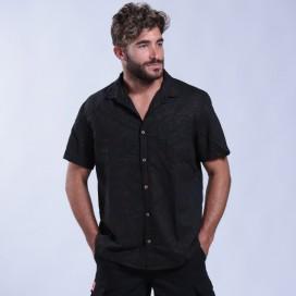 Shirt Flower Print Short Sleeves Cotton Regular Fit Brown/Black