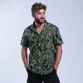 Shirt Flower Print Short Sleeves Cotton Regular Fit Khaki/Black