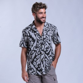 Shirt Flower Print Short Sleeves Cotton Regular Fit Light Grey/Black