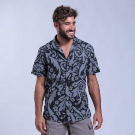 Shirt Flower Print Short Sleeves Cotton Regular Fit Pencil/Black