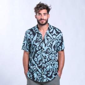 Shirt Flower Print Short Sleeves Cotton Regular Fit Turquoise/Black