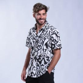 Shirt Flower Print Short Sleeves Cotton Regular Fit White,Black