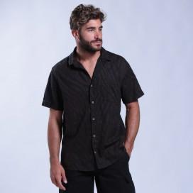 Shirt Zebra Print Short Sleeves Cotton Regular Fit Brown/Black