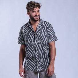 Shirt Zebra Print Short Sleeves Cotton Regular Fit Pencil/Black