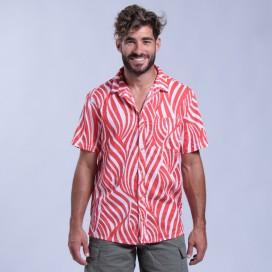 Shirt Zebra Print Short Sleeves Cotton Regular Fit Red/White