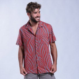 Shirt Zebra Print Short Sleeves Cotton Regular Fit Red/Pencil