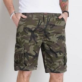 Cargo Shorts FT Cotton 235 Gsm Regular Fit Camo Green