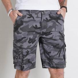 Cargo Shorts FT Cotton 235 Gsm Regular Fit Camo Grey