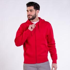 Jacket Hoodie 03042 DS Zipper Cotton Blend 275 Gsm Slim Fit Red