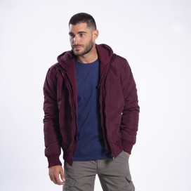 Jacket DS 2025 Hooded Bomber Polyester Wine Red